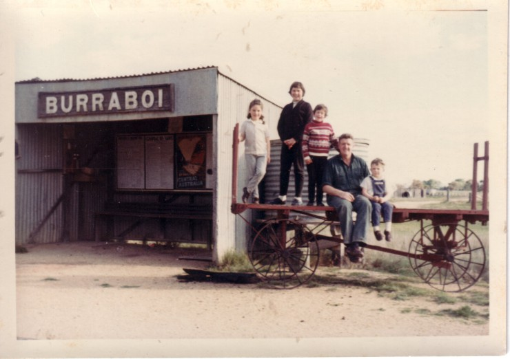 Cindy and Stacey Campbell,  Ross , Sue and Cherry Ellis at Burraboi NSW, late 1960's.