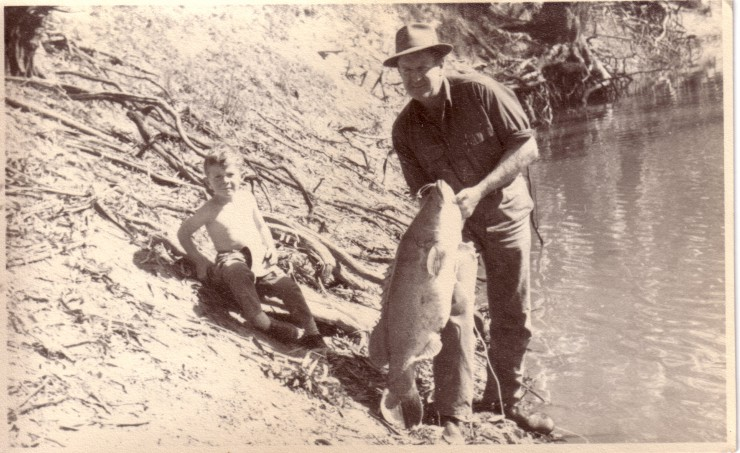 Me,  Uncle Ross  and a very big Murray Cod, 1960's.