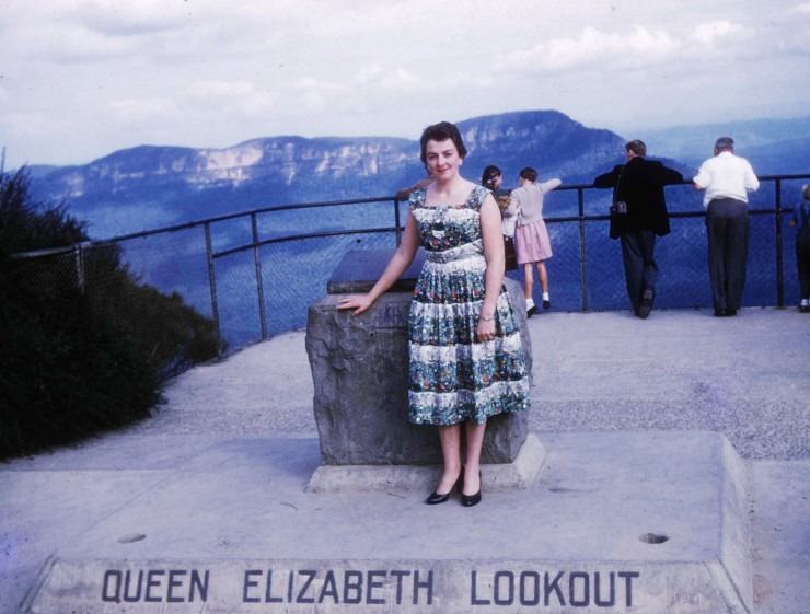 Mum in the The Blue Mountains after arriving in Sydney en route to Melbourne from Auckland, 1957.