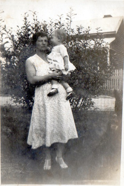 Florence Ada Griffin  (my great aunt Doll) holding my  Aunty Joan .