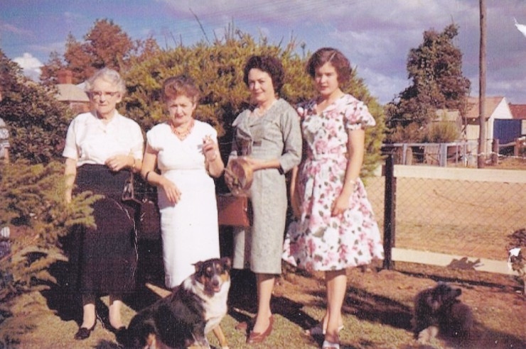 Mary Jane Campbell and daughters Anne and Margaret, and Margaret's daughter Delphine McHugh (nee Martin), at Dubbo in 1962.