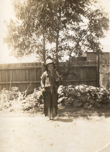 Wallace Campbell dressed as a cowboy.  Likely taken in Frankston around 1942.