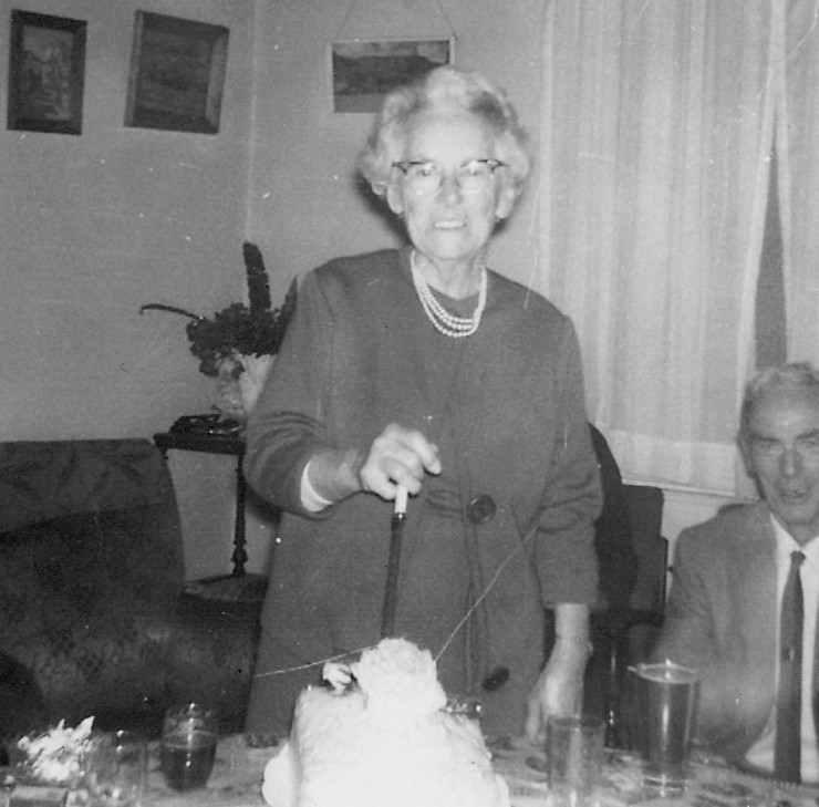 Mary Jane Campbell's (nee Sweet) 90th birthday party.  Gordon Duncan Campbell is in the background.
