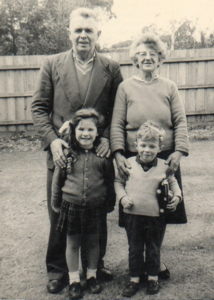 Grandpa (Norman McLean Campbell) and Nana (Evelina Griffin) with Cindy and