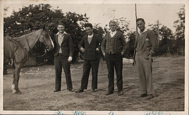 (From left) Wallace McDonald Campbell, b. 23 October 1916, Lockhart, NSW; Norman McLean Campbell, b. 24 August 1903, Meeniyan, Victoria, d. 13 February 1991, Reservior, Victoria (my Grandpa); Alexander Duncan Campbell; Gordon Duncan Campbell, b. 3 December 1901, Meeniyan, Victoria.
